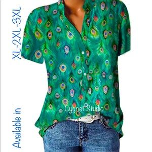 Stunning Peacock Feather Plus Size V Neck Blouse